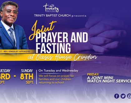 Joint Prayer & Fasting In September