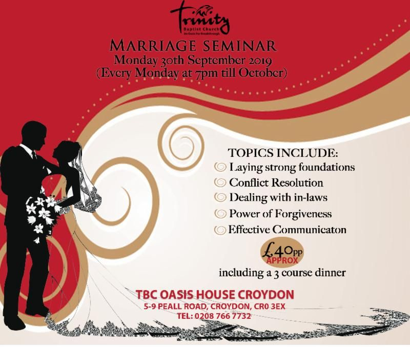 Register Now For The Marriage Seminar - Starts 30th September