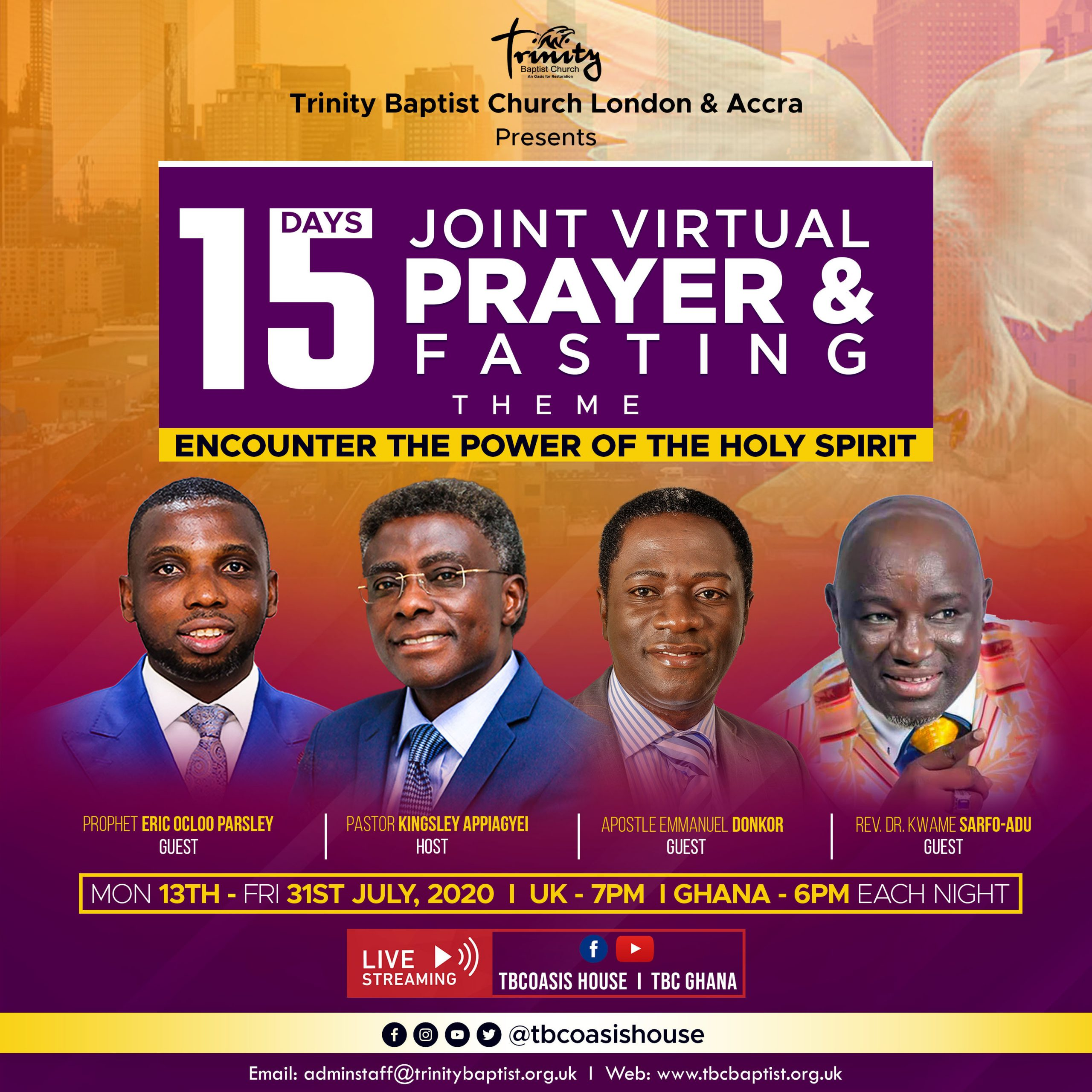 Days 6- 10 of Joint Fasting and Prayer Week (Virtual Meeting)