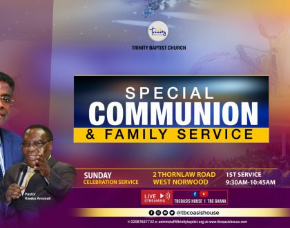 Register On line for Our In-Person Family Worship Service in Croydon